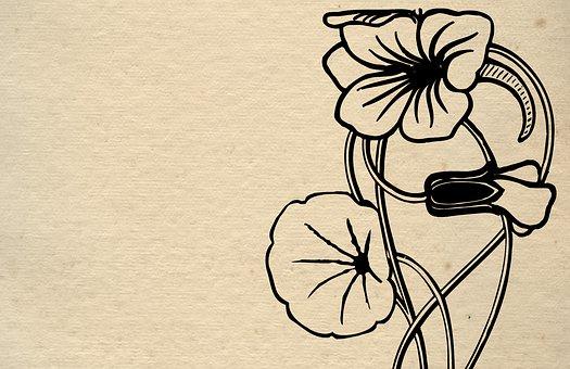Floral, Paper, Drawing, Vintage, Old
