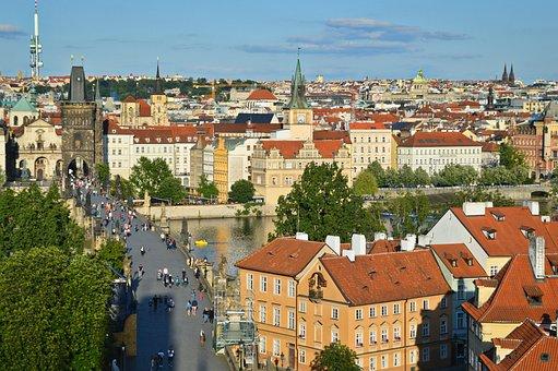 Panorama, View, Prague, Charles Bridge, Bridge, Roofs
