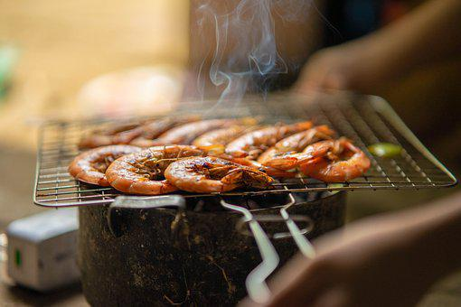 Dish, Grilled, Shrimp, Smoke, Charcoal, Cooking, Lunch