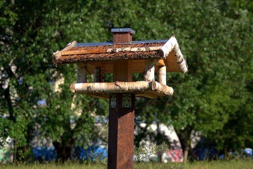 Bird Feeding Tray, Shed, Wooden, Birds, Feeding