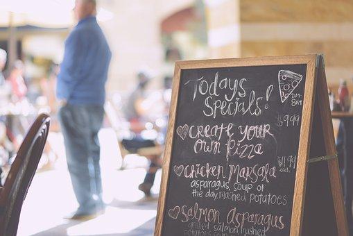 Blackboard, Chalk, Board, Cafe, Daily, Specials, Pizza