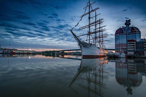 Gothenburg, Sea, Coastal, Blue, Himmel, Cloud, Boat