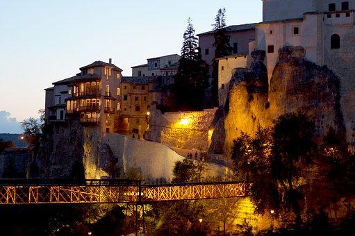 Bridge, Canyon, Twilight, Hanging Houses, Night