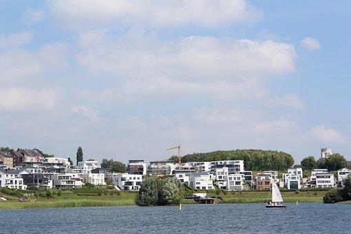 Phoenix Lake, Boat, Crane, Building, Southwest-hang