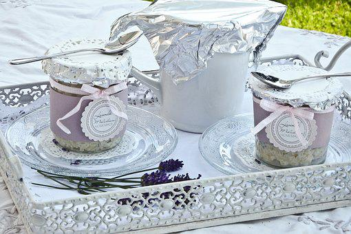 Glass, Cover, Dessert, Rice Pudding, Pot, White, Tray