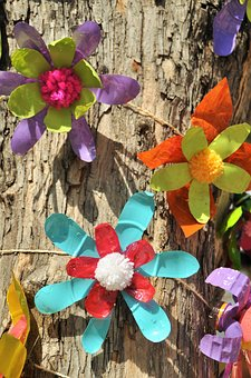 Upcycling, Plastic, Flower, Art, Street Art, Abstract