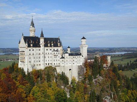 Castle Neuschwanstein, Germany, Bavaria, Forest, Autumn