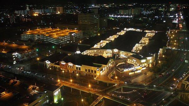 Japan, Osaka, Aerial, Night View, General Merchandise