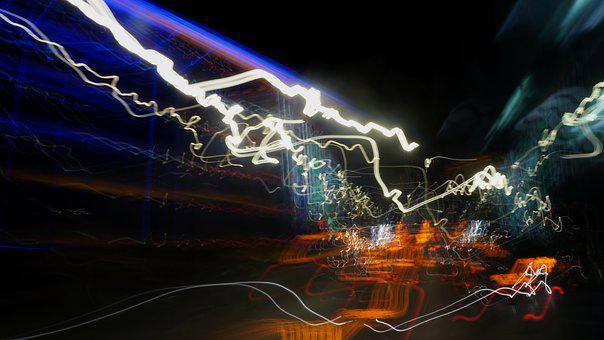 Long Exposure, Night, Light Painting, Abstract