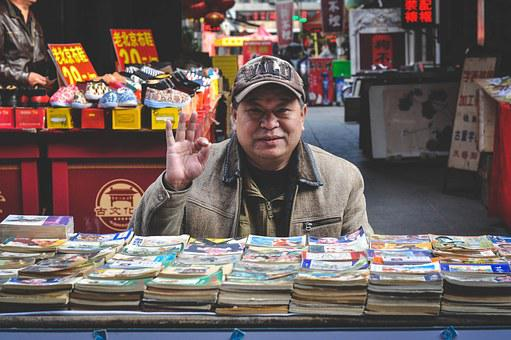 Asian, Market, Seller, Vendor, Salesman, Man, Books