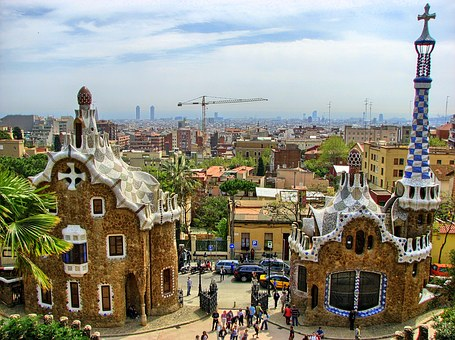 City, View, Park, Park Guell, Gaudi, Colors, The Roofs