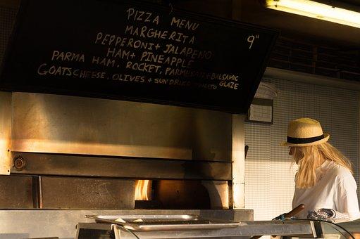 Pizza Shop, Restaurant, Chalk Board, Menu, Eat