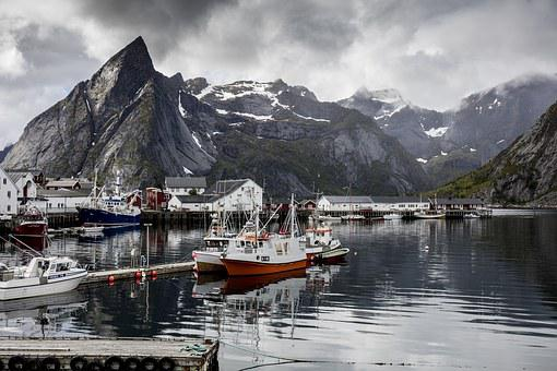 Moorage, Ships, Water, Lake, Mountain, Nordic, Reine