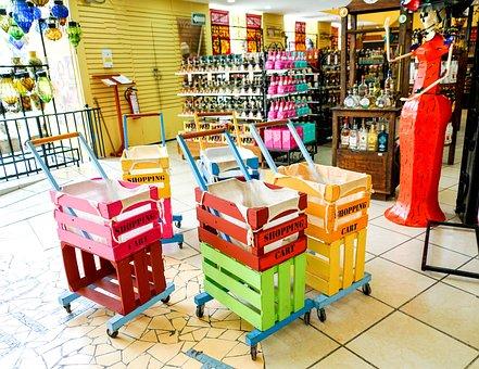 Souvenir Shop, Colorful Shopping Carts, Displays