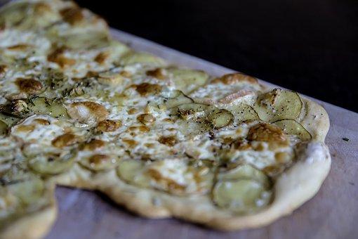 Pizza, Potatoes, Cheese, Dough, Baked, Tarte Flambée