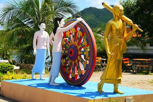 Buddha, Whee, Karma, Walking, Gold, Thailand, Asia