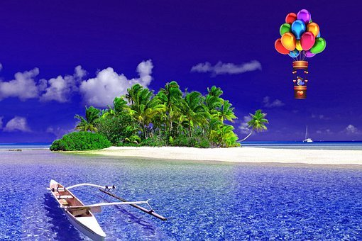Nature, Ocean, Balloon, Hot Air Balloon, Cat Traveling