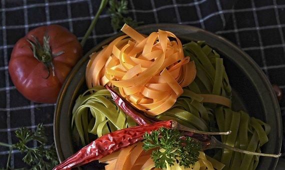 Noodles, Tagliatelle, Pasta, Raw, Colorful, Food