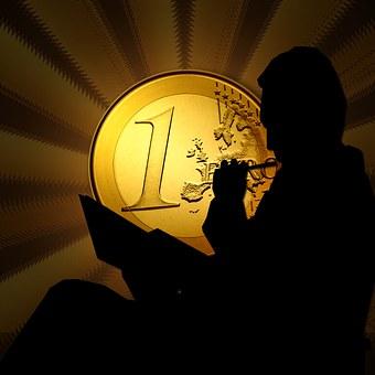 Euro, Coins, Man, Silhouettes, Budget, Quandary, Save