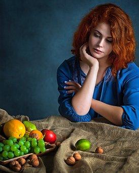 Girl, Woman, Fruit, Food, Healthy, Beauty, Nature