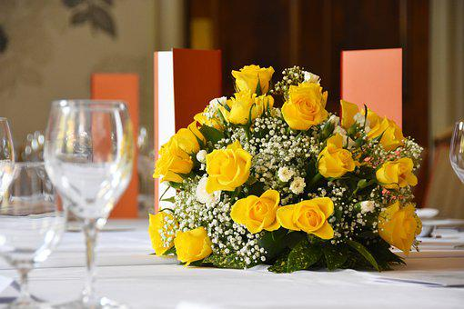 Roses, Yellow, Table Decoration, Flower Arrangement