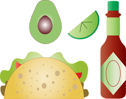 Summer Foods, Taco, Avocado, Hot Sauce, Stitched