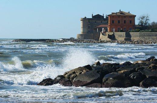 Sea, Waves, I Sell, Storm, Coast, Rocks, Castle, Palo