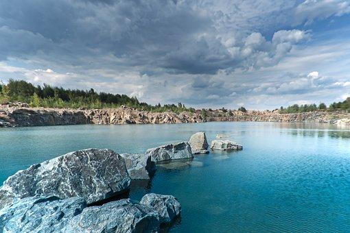 Sky, Rock, Water, Cloudy, Clouds, Lake