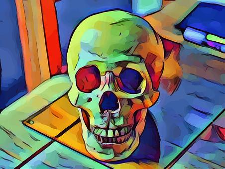 Neon, Skull, Desk, Colorful, Rainbow, Decoration