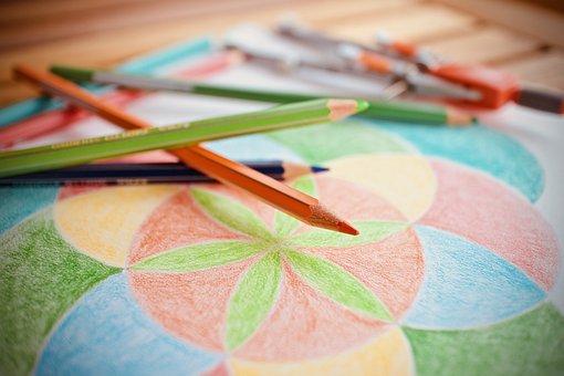 Drawing, Abstract, Colors, Pencils, School, Art