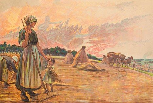 Farm, People, Family, Scene, Vintage, Wwi, 1914-1918