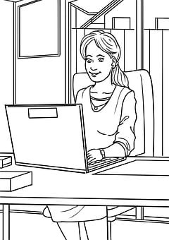 Home Office, Drawing, Woman, Computer, Human, Female