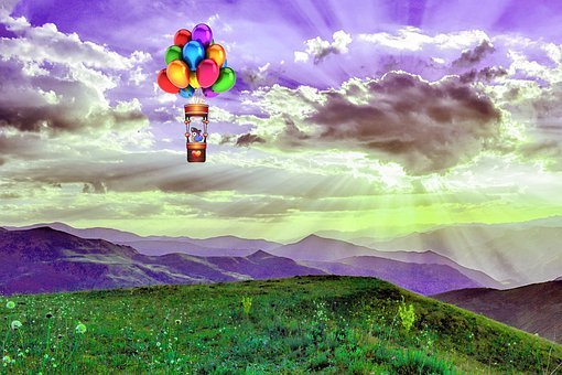 Nature, Hut, Mountains, Spring, Hot Air Balloon, Grass