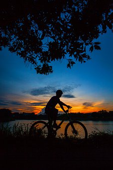 Bicycle, Sunset, Lake, Bike, Cyclist, People