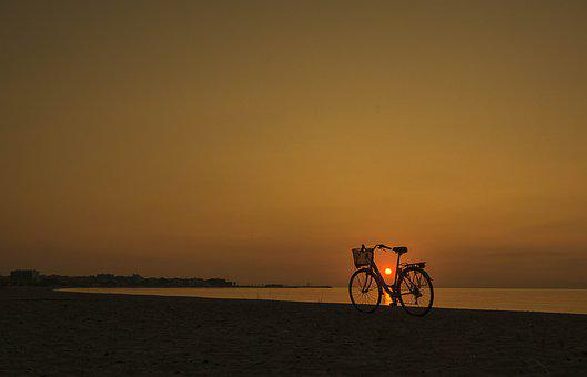 Dawn, Bicycle, Sunrise, Landscape, Sky, Nature