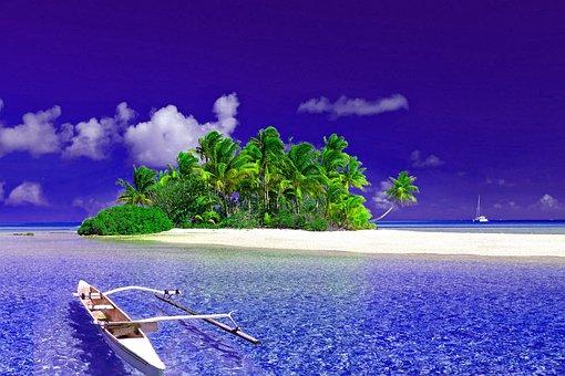 Nature, Ocean, Boat, Island, Sky, Water, Beautiful