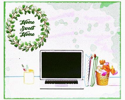 Watercolor Desk, Plants, Computer, Painting, Lamp