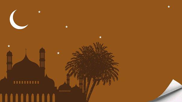 Mosque, Moon, Desain, Tree, Palm, Star, Eid Mubarak