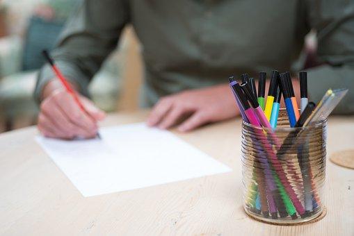 Write, Pencils, Desk, Pen, Colors, Man, Sit, Work