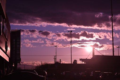 Sunset, Sun, Purple, Filter, Landscape, Sky, City