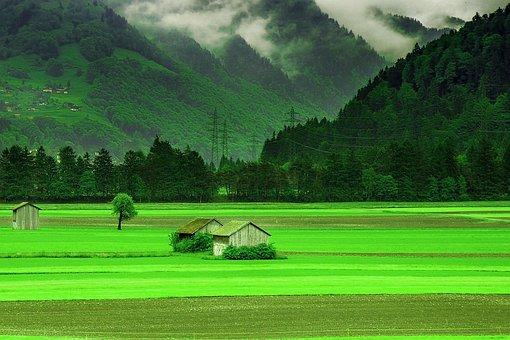 Nature, Hut, Mountains, Spring, Grass, Scenery, Scene