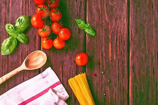 Watercolor, Cooking, Tomatoes, Wood, Spoon, Spaghetti
