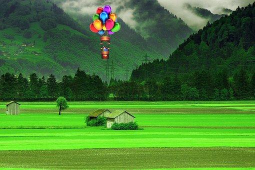 Nature, Hut, Mountains, Spring, Hot Air Balloon, Grass