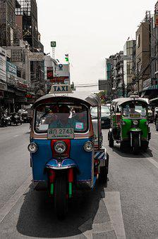 Taxi, Thailand, Transport, Vehicle, Tuk-tuk, Rickshaw
