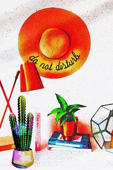 Watercolor Desk, Plants, Painting, Lamp, Books, Desk