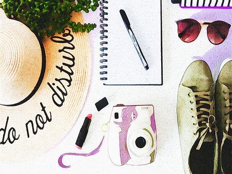 Watercolor Desk, Plants, Painting, Lamp, Books, Pencil