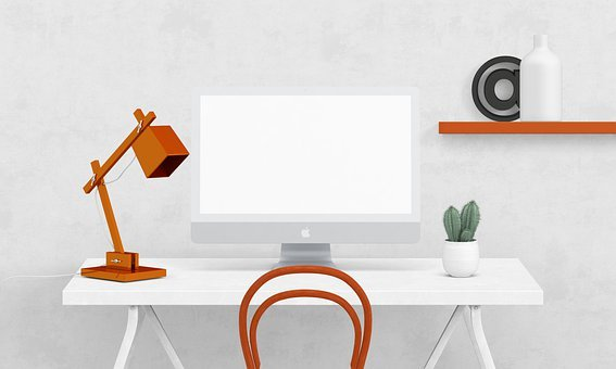 White Desk, Orange Lamp, Front View