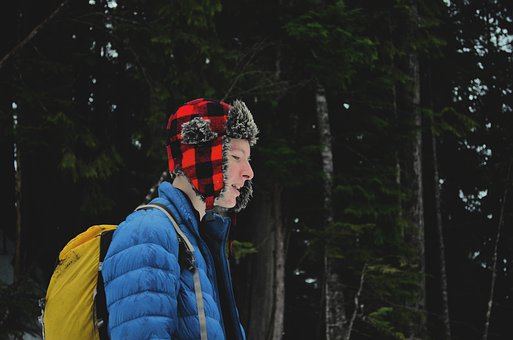 Boy, Camping, Hiking, Forest, Snow, Cold, Mountains