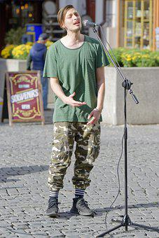 Boy, Person, Male, Young, T-shirt, Singing, Voice