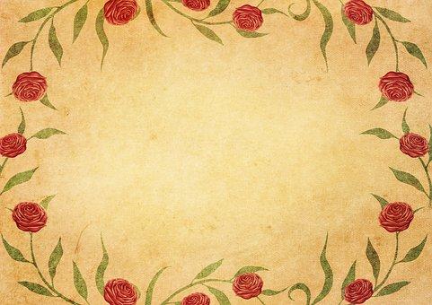 Frame, Roses, Vintage, Decoration, Copy Space, Romantic